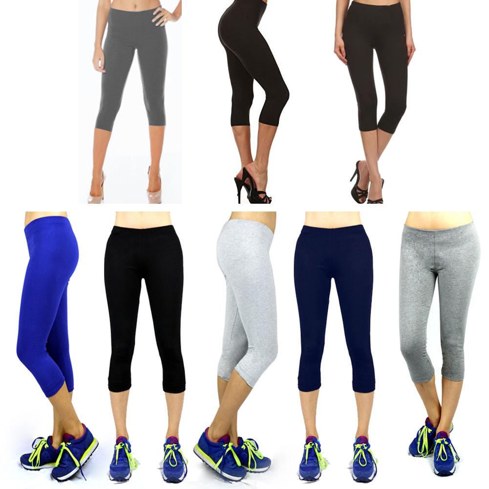 068e18c3d5ee0 2pairs Womens Capri Leggings Skinny Stretch Cropped Sexy Yoga Pants ...