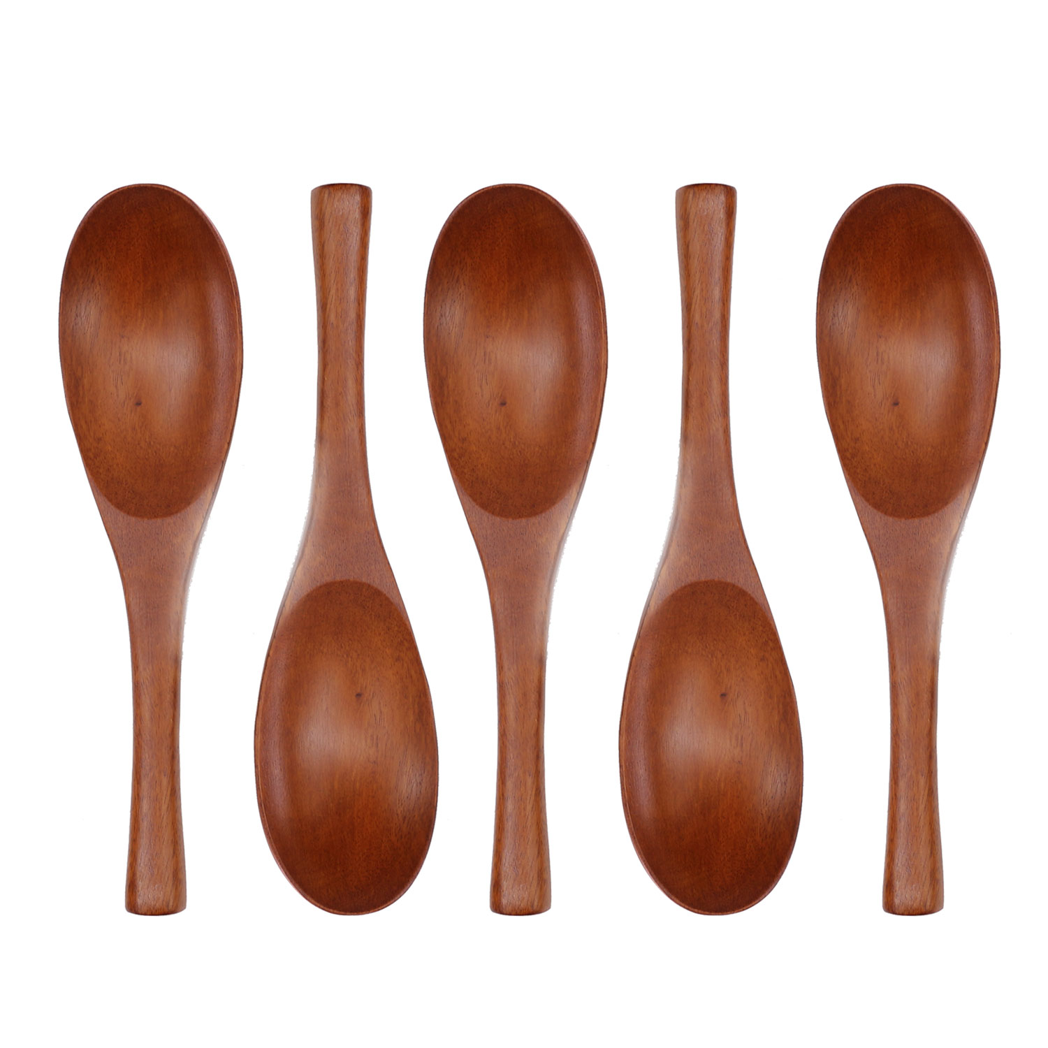 Details about Set of 5 Handmade Natural Jujube Wood Spoon for Ramen Udon  Soup