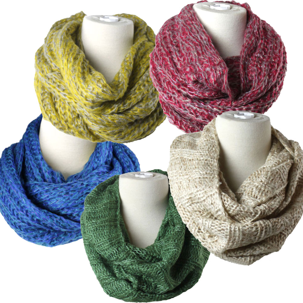 Women S Warm Winter Infinity Circle Cable Knit Cowl Neck Thick Scarf